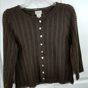 LL Bean Brown Crochet Button Down LS Cardigan XS-P